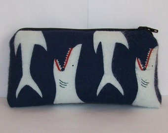 "Pipe Pouch, Sharks Pipe Bag, Pipe Case, Padded Pouch, Pipe Cozy, Small Pouch, Stoner Gift, Shark Pouch, Ocean Animal, 420 Bag - 5.5"" SMALL"