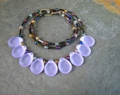 Lavender Purple Seaglass Teardrop Beaded necklace One of a kind Statement necklace