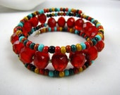 Navajo bead mix turquoise and red 3 strand bangle memory wire adjustable bracelet