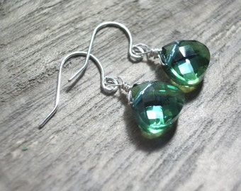 Teal green earring wire wrapped earrings minimalist Teardrop crystal tiny earrings