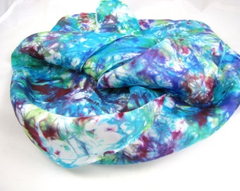 multi colored scarf silk scarves Hand Painted women's silk accessories sash belt neck tie head band