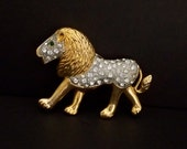 Large Rhinestone King of the Jungle Lion Brooch
