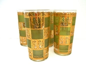 Culver Prado Green and Gold Highball Glasses Set of Four (4) Retro Barware Mid Century