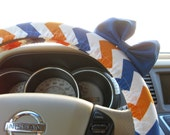Steering Wheel Cover Bow, Harry Potter Ravenclaw Inspired Orange, Blue and White Chevron Steering Wheel Cover with Blue Bow BF11259