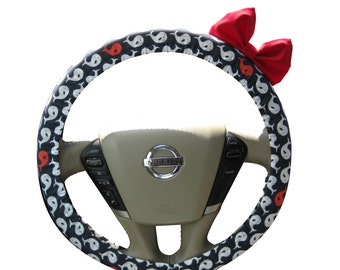 Steering Wheel Cover Bow, Limited Edition Navy and White Whales Steering Wheel Cover with Bright Red Bow BF11220