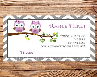 Owls Diaper Raffle, Raffle Ticket, Owls Raffle Ticket, purple, As is instant download - 1PDF 8.5x11, 1606
