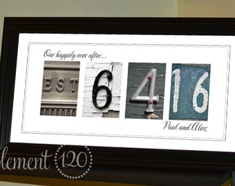 Personalized Wedding Date Sign, Number Photography Wedding Gift, Personalized UNFRAMED Wedding Sign, Custom Date Print