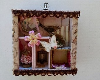 Pretty Shadowbox, Mixed Media, Shadowbox Art, Small Shadowbox, Shadow Box, Home Decor, Shadow Box Display, For Her, For Girls Room