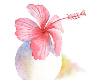 Pink Hibiscus print HV1416, pink hibiscus watercolor painting, pink hibiscus painting, botanical art, pink living room wall art. A4 size