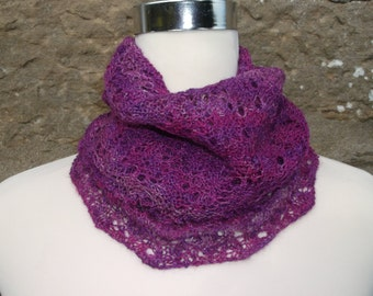 Orchid infinity cowl / neckwarmer / snood. Hand knitted.Hand dyed  Baby Alpaca  and silk wool.