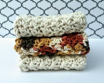 Wash Cloths Crochet Face Cloths Dish Cloth Set Ready to Ship