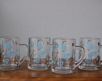 Vintage Federal glass amoeba bar glasses mugs