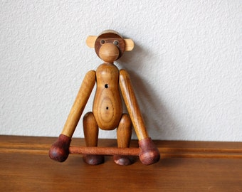 Vintage zoo line wooden monkey with bar mid century modern
