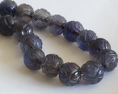 Hand Carved Shou Lucky Prosperity Natural Iolite Gemstone Necklace