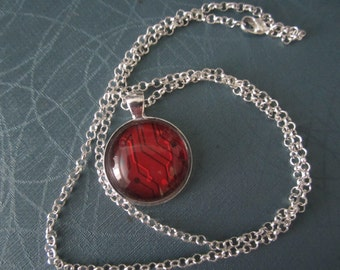 Red Circuit  Necklace Netrunner
