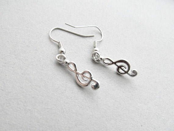 Treble Clef Dangle Earrings