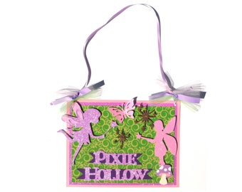 Pixie Hollow Party Door Hanging Sign Birthday Party Decoration - Matches the Pirate and Pixie Party