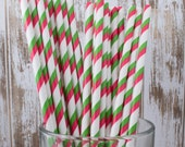 """100 red and Green Christmas Holiday double stripe paper straws with FREE Blank Flag Template   See - """"Personalized"""" flags option."""