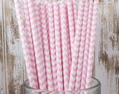 100 Light Pink Chevron vintage striped paper drinking straws - with FREE Flag Template