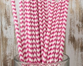 100 Raspberry Chevron vintage striped paper drinking straws - with FREE Flag Template