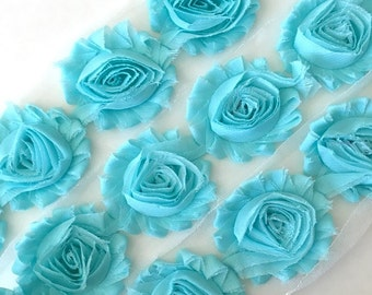 "Robin's Egg Blue Shabby Rose Trim 2.5"" Shabby Flowers Shabby Chiffon Flowers - Solid Shabby Chic Trim Wholesale Rosette trim 6cm 1 yard #626"