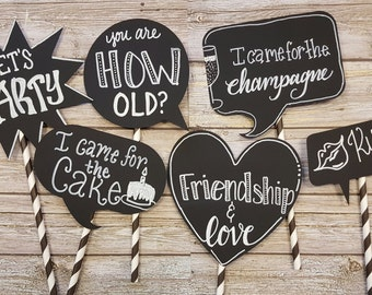 8 Customized Chalkboard Speech Bubbles with straw sticks - Party Decorations, Wedding, Handlettered Photo Booth Signs, Photo Props