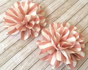 Set of 2 Vintage Dusty Pink Mauve Stripe flower 4.5'' large silk pink & white stripe fabric flower Dahlia headband flowers wholesale