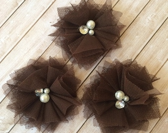 """4 count Small Brown Tulle Mesh Fabric Flowers with Cluster Pearl &  Rhinestone center  - Gracie Collection - 2 1/4"""" flower - flat back"""