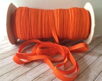 "3/8"" Fold Over Elastic ORANGE Shiny FOE 3/8"" inch Baby Headbands Hair Ties Satin Elastic Soft stretch - 5 yds Skinny Elastic FOE orange P749"