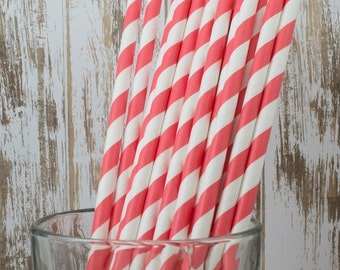paper straws -100 Coral stripe straws drinking straws - cake pop sticks vintage party straws barber stripe bulk straws dark green