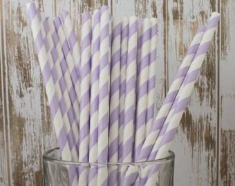 paper straws -100 Lavender stripe straws drinking straws - cake pop sticks vintage party straws barber stripe bulk straws dark green