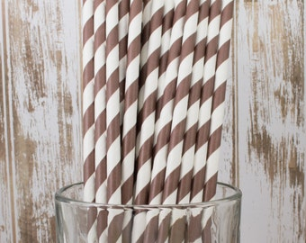 25 Ct Chocolate Brown vintage striped paper drinking straws - with FREE DIY Flag Template