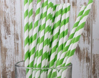"25  Kelly Green and white barber striped paper drinking straws -  with FREE Blank Flag Template.  See also - ""Personalized"" flags option."