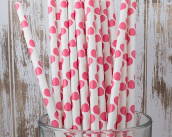 "25 Red polka dot paper drinking straws - with FREE Blank Flag Template.  See also ""Personalized"" flags option."