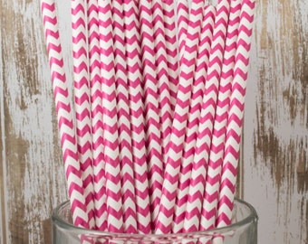 100 Raspberry Chevron vintage striped paper drinking straws - with FREE DIY Flag Template