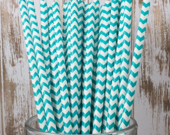 100 Ct Dark Aqua Chevron vintage striped paper drinking straws - with FREE DIY Flag Template