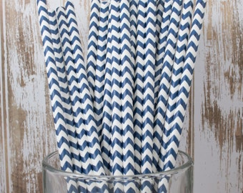 25 Navy Blue Chevron vintage striped paper drinking straws - with FREE DIY Flag Template