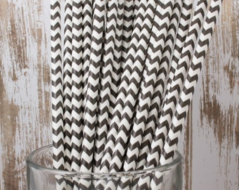 100 Ct Black Chevron vintage striped paper drinking straws - with FREE DIY Flag Template