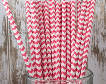 25 Ct Red Chevron vintage striped paper drinking straws - with FREE DIY Flag Template