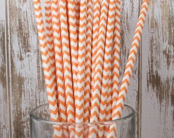 25 Ct Orange Chevron vintage striped paper drinking straws - with FREE DIY Flag Template