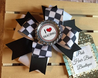 Racing hair bow , checker flag 4 inch racing bow