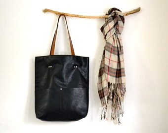 Black Leather Tote Bag, Wife Gift, Reversible Leather Tote, Inside Outside Leather Tote, Leather Laptop Magazine Tote, Leather Diaper Bag