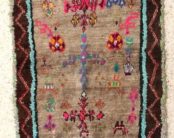 "165X110cm (5' 4""X3' 6""feet)FREE SHIPPING WORLDWIDE AZ28438 Azilal ,Ourika ,Beni Ourain vintage berber rug Morocco,wool carpet , boucherouite"