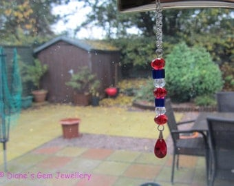 A pretty handmade crystal suncatcher window charm car charm Xmas decoration in red white and blue  #199 UK seller