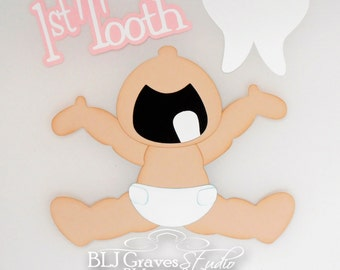 Premade Paper Piece Die Cut for Scrapbook Page Baby Girl Boy First Tooth Handmade