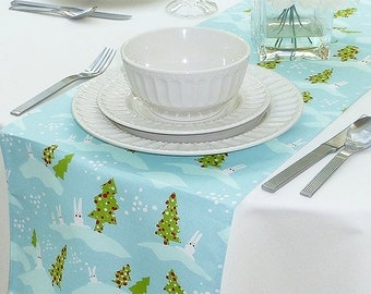 Choose your Table Runner, Ice Blue Table Runner - Blue Wedding Linens - Blue Table Topper - Holiday Bunnies & Trees Ice Blue Table Runner