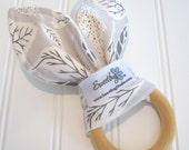 Natural Wood Teething Ring/Cotton Front/Organic Cotton Fleece Back