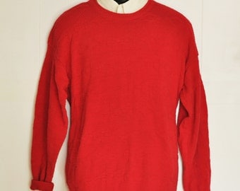 Mens Red Sweater XL Vintage Made in USA All Cotton Knit Preppy Pullover Sportswear Crew Neck Big Tall Menswear