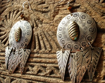 Moroccan large round tarnished hand engraved earrings with silver  hooks