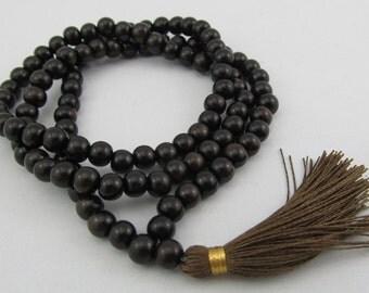 108 beads wood mala - Ebony wood mala in 6mm + - natural ebony with chestnut silk tassel